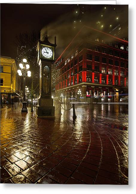 Gastown Steam Clock On A Rainy Night Vertical Greeting Card