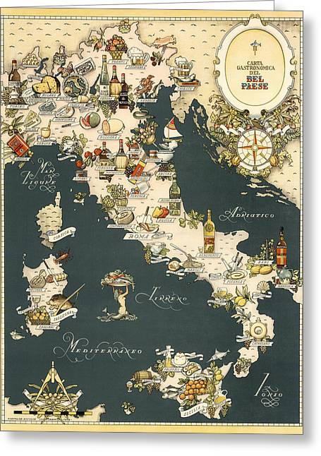 Gastronomic Map Of Italy 1949 Greeting Card by Andrew Fare