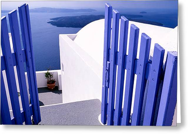 Gate At The Terrace Of A House Greeting Card by Panoramic Images