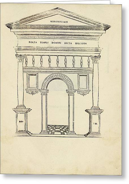 Gate Of The Temple Of Jerusalem Greeting Card by Library Of Congress