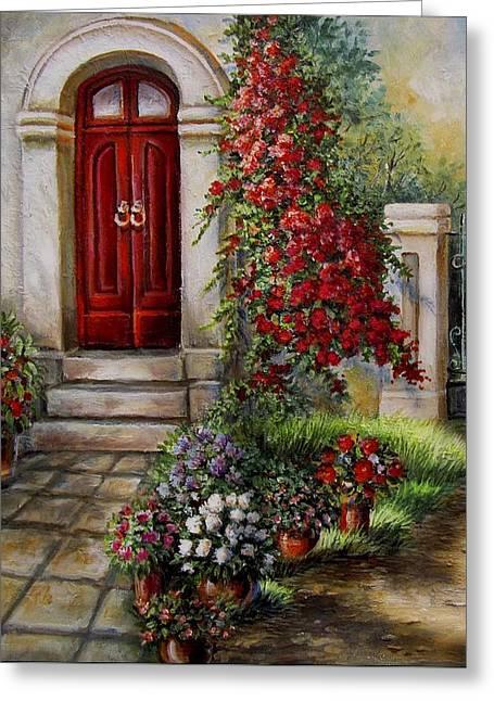 Gate To The Hidden Garden  Greeting Card by Regina Femrite