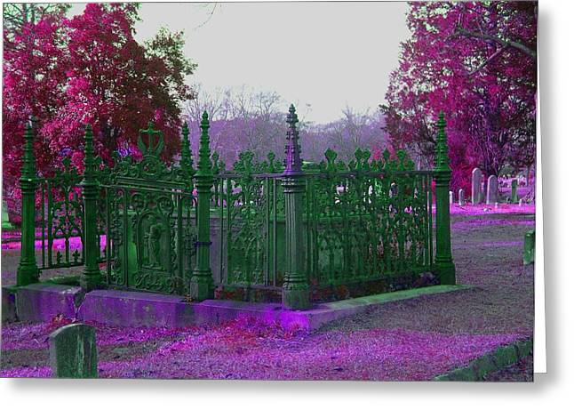 Greeting Card featuring the photograph Gated Tomb by Cleaster Cotton