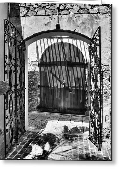 Gates Of Saint Thomas 2 Bw Greeting Card by Mel Steinhauer