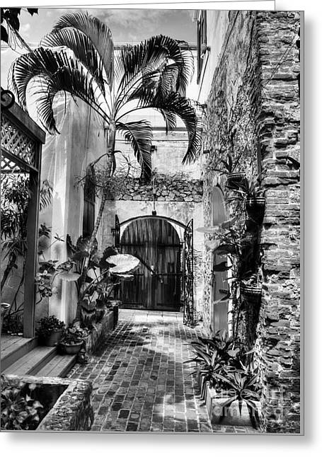 Gates Of St Thomas 1 Bw Greeting Card by Mel Steinhauer