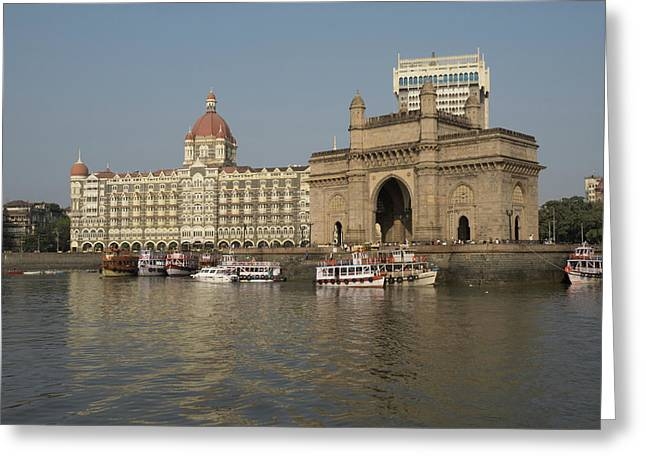 Gateway Of India With Taj Mahal Palace Greeting Card