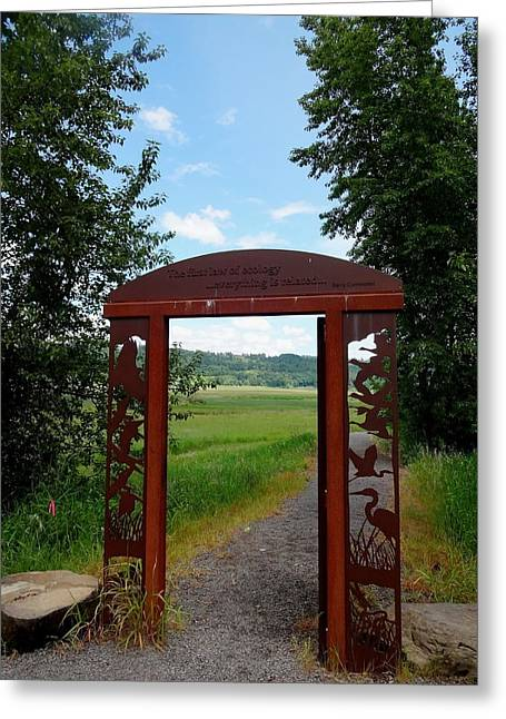 Gateway To The Trail Greeting Card by Lizbeth Bostrom