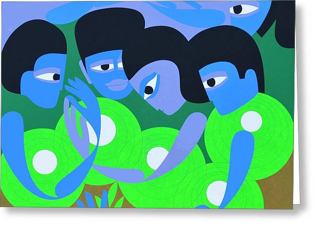 Gathering 1, 1980 Acrylic On Board Greeting Card by Ron Waddams