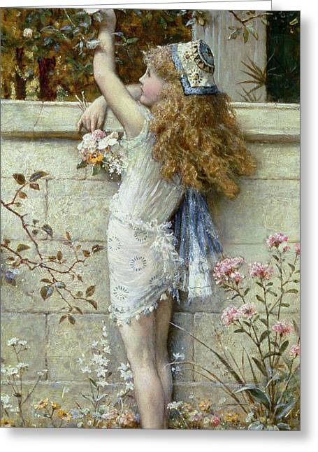 Gathering Flowers Greeting Card by William Stephen Coleman