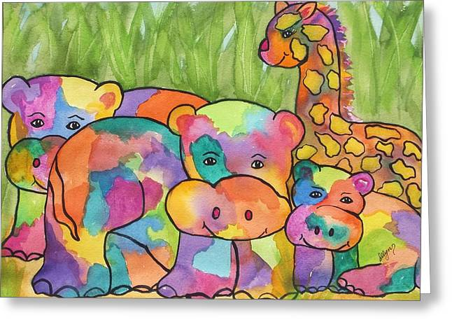 Gathering Of Friends Greeting Card by Ellen Levinson