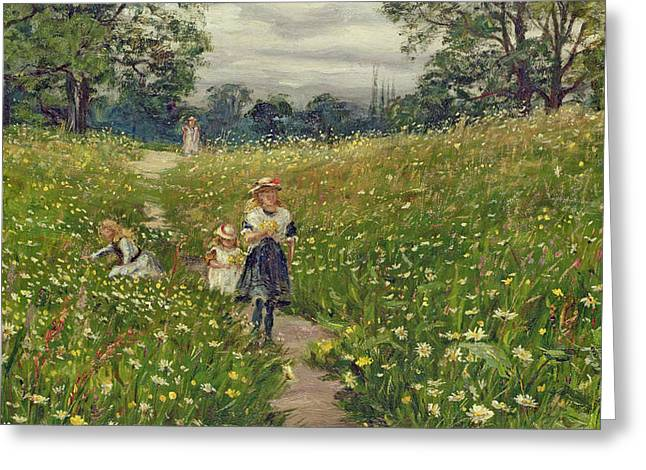 Gathering Wild Flowers  Greeting Card by Philip Richard Morris