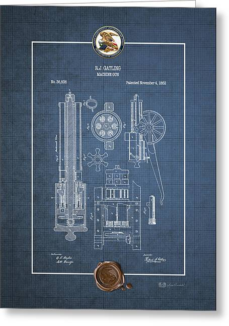 Gatling Machine Gun - Vintage Patent Blueprint Greeting Card