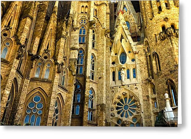 Gaudi - Sagrada Familia Greeting Card by Jon Berghoff