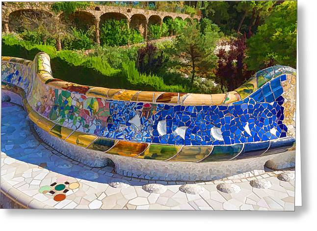 Gaudi's Park Guell - Impressions Of Barcelona Greeting Card