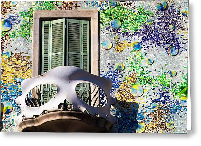 Gaudis Skull Balcony And Mosaic Walls Greeting Card by Rene Triay Photography
