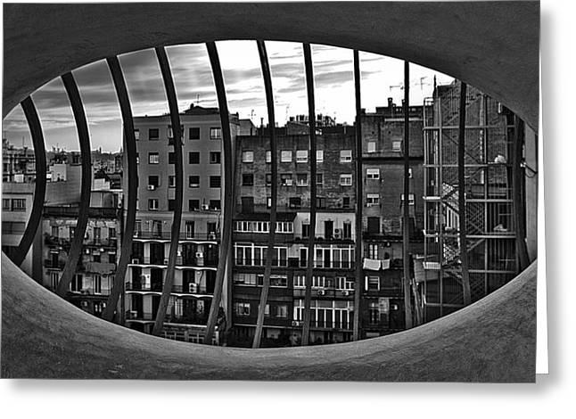 Gaudi's View Greeting Card by Robert  FERD Frank