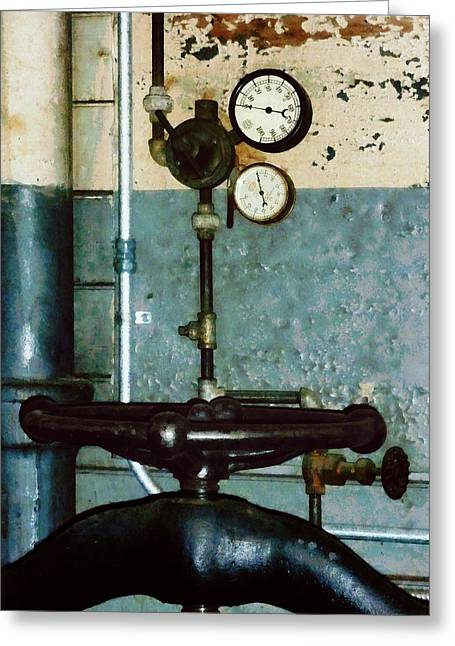 Gauge Greeting Cards - Gauges in Machine Shop Greeting Card by Susan Savad