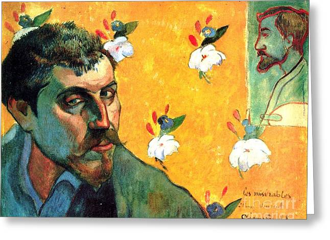 Gauguin Self Portrait - As Jean Valjean Greeting Card by Pg Reproductions