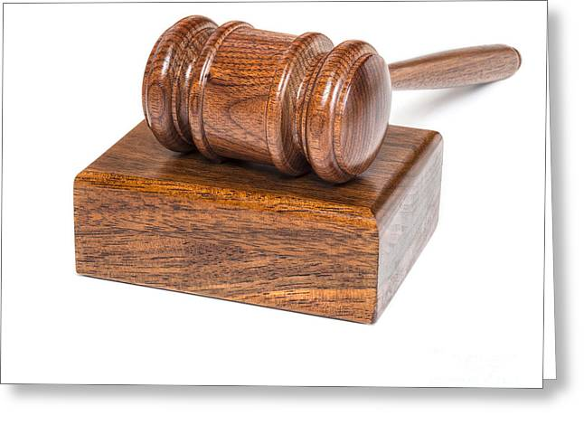 Gavel And Block On White Greeting Card by Colin and Linda McKie