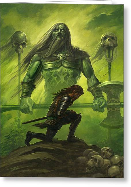 Gawain And The Green Knight Greeting Card by Alan Lathwell