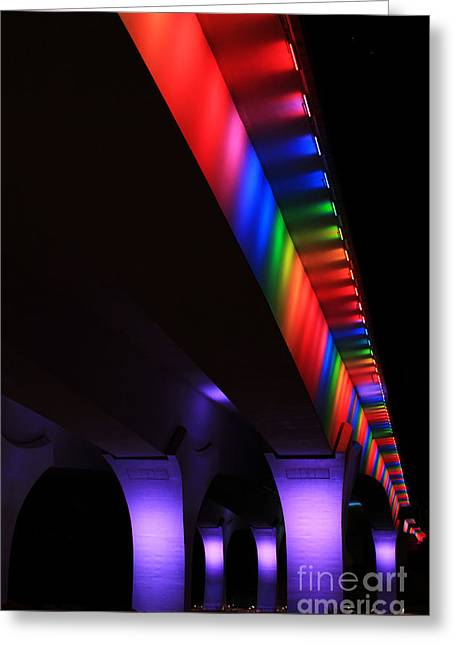 Gay Pride Lights On 35w Bridge Greeting Card