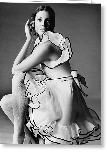 Gayle Hunnicutt Wearing A Oscar De La Renta Dress Greeting Card by Bert Stern