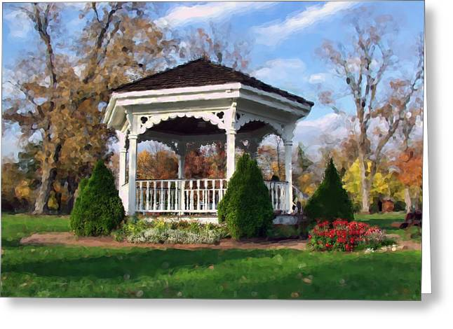 Greeting Card featuring the photograph Gazebo At Olmsted Falls - 1 by Mark Madere