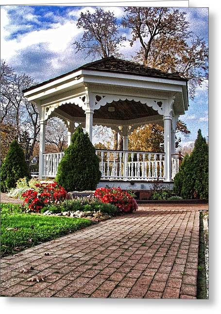 Greeting Card featuring the photograph Gazebo At Olmsted Falls - 3 by Mark Madere