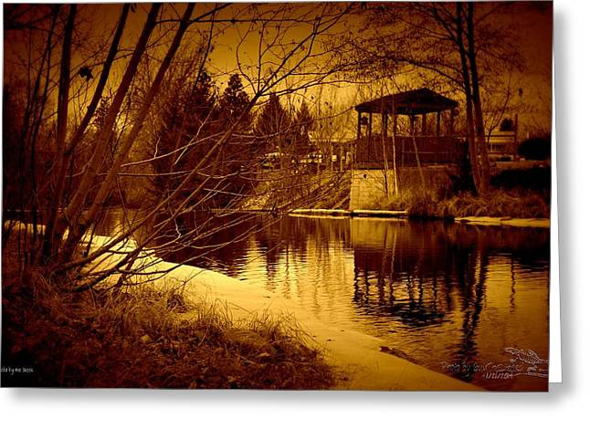 Gazebo By The Creek 02 Greeting Card by Guy Hoffman