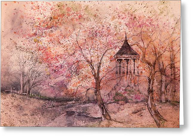 Gazebo In Red Greeting Card by Anna Sandhu Ray