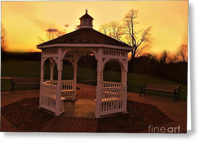 Greeting Card featuring the photograph Gazebo In Sunset by Becky Lupe
