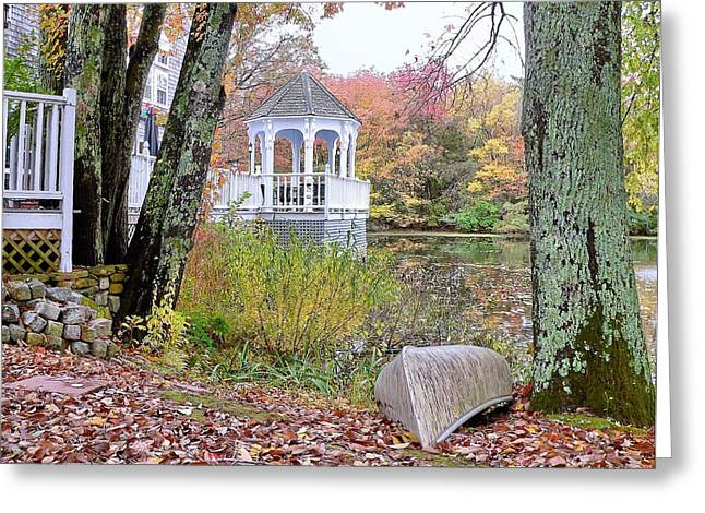 Greeting Card featuring the photograph Gazebo On Pond -  Fall Scene by Janice Drew