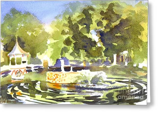 Gazebo With Pond And Fountain II Greeting Card by Kip DeVore