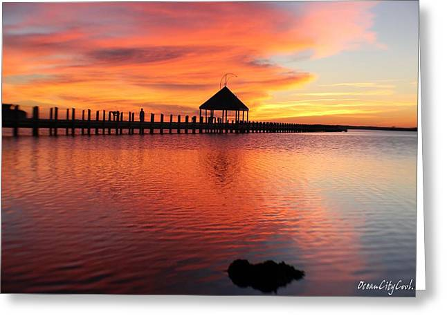 Gazebo's Sunset Reflection Greeting Card