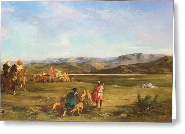 Gazelle Hunt In Chott El-hodna, 1856 Oil On Canvas Greeting Card