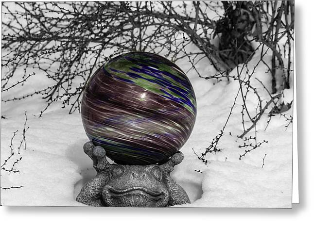 Gazing Ball Squared Greeting Card by Teresa Mucha