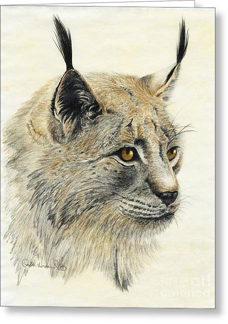 Greeting Card featuring the painting Gazing Lynx by Phyllis Howard
