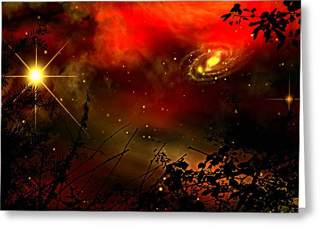 Gazing The Galaxy Greeting Card by Persephone Artworks