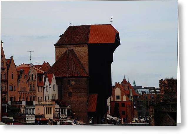 Gdansk Crane Greeting Card by Jacqueline M Lewis