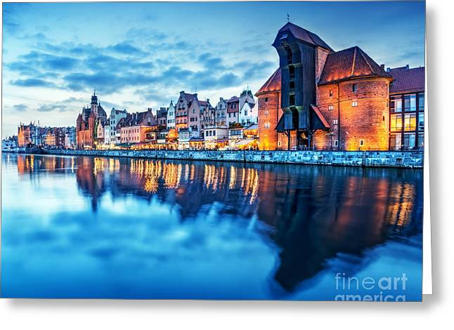 Gdansk Poland Old Town Motlawa River And Famous Crane Polish Zuraw Greeting Card by Michal Bednarek