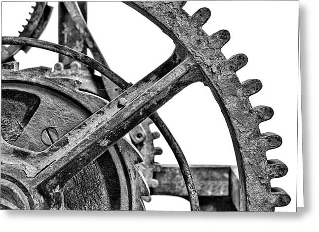 Gear Wheels Of A Medieval Church Clock 3 Of 3 Greeting Card by Martin Bergsma