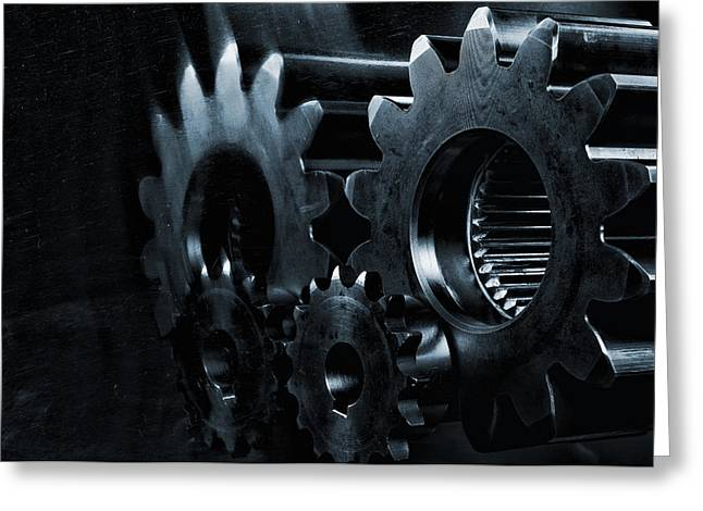 Gears And Cogwheels In High Definition Greeting Card by Christian Lagereek