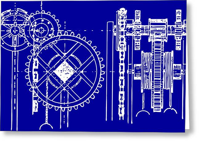 Gears Blueprint Greeting Card by