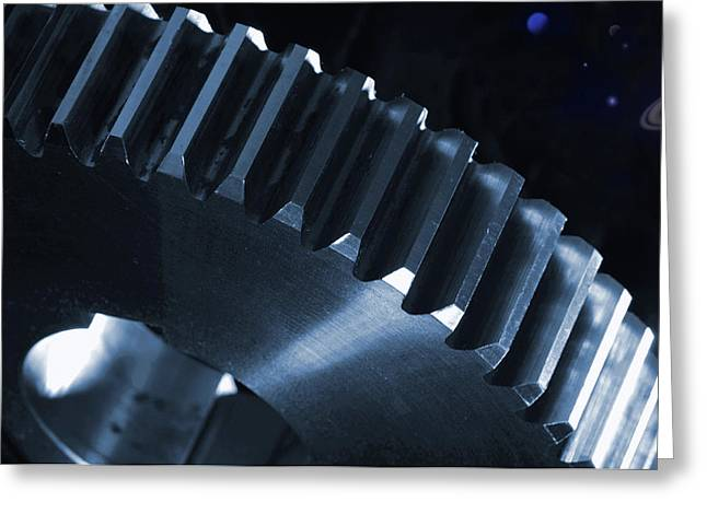 Gears Engineering In Space Greeting Card by Christian Lagereek