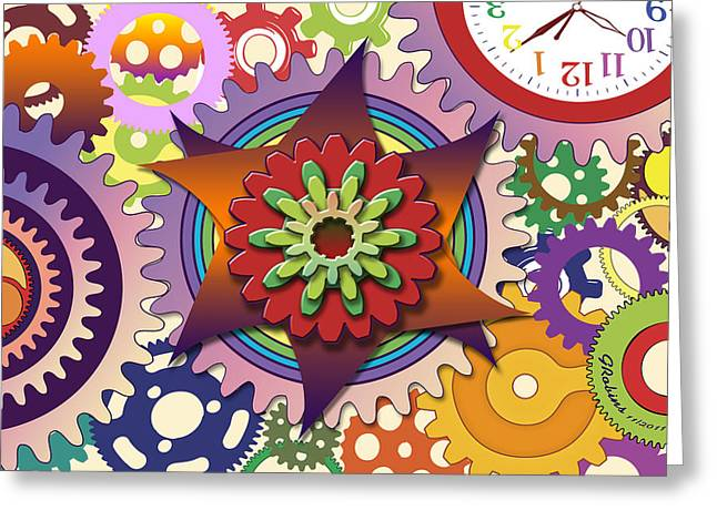 Gears Greeting Card by Gerry Robins
