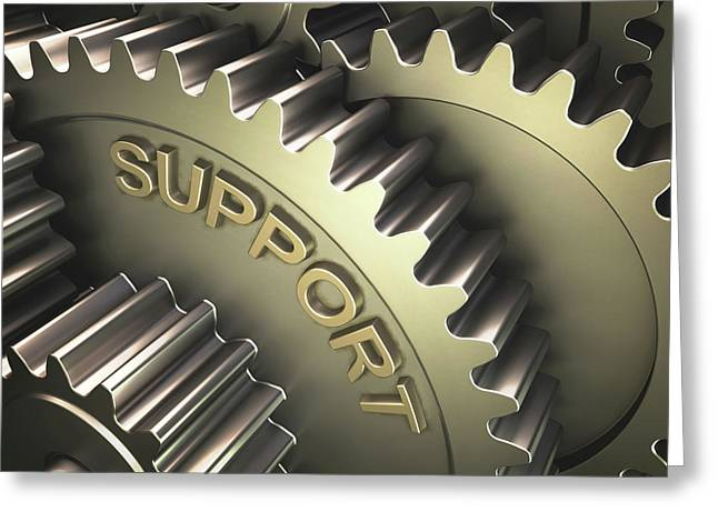Gears With The Word 'support' Greeting Card