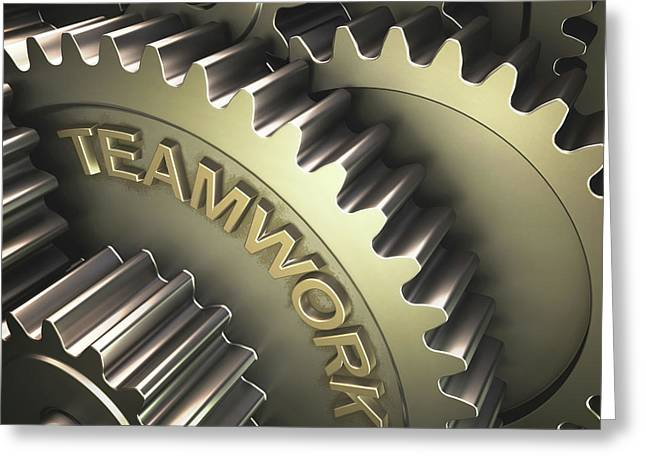 Gears With The Word 'teamwork' Greeting Card by Ktsdesign