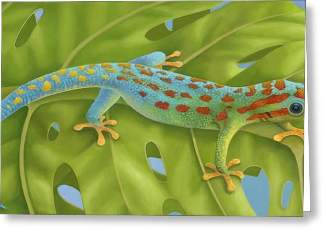 Gecko Greeting Card by Laura Regan