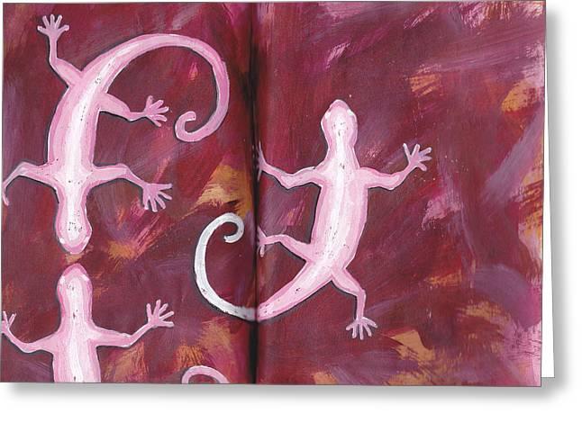Geckos In Sketchbook Greeting Card by Chad Brown