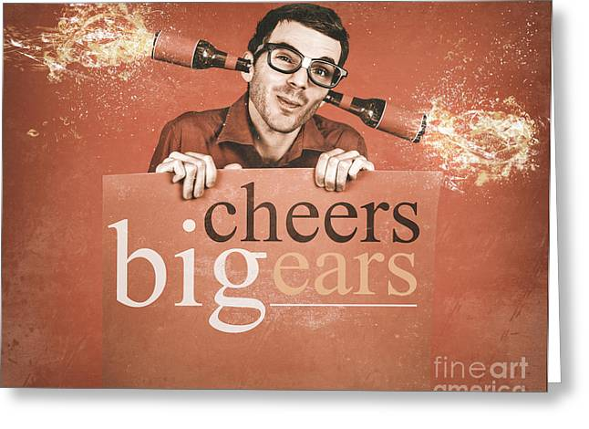 Geek Holding Blank Banner With Exploding Ear Beers Greeting Card by Jorgo Photography - Wall Art Gallery