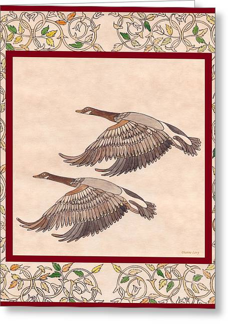 Greeting Card featuring the drawing Geese by Dianne Levy
